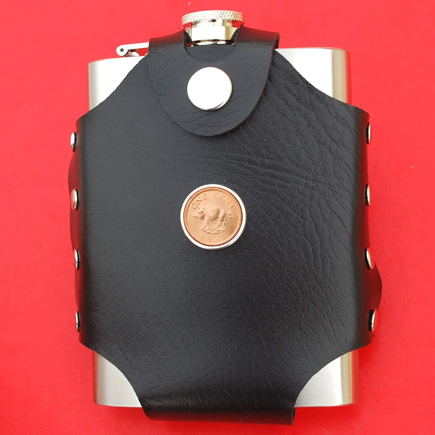 Bermuda 1971 One Cent BU Uncirculated Coin PU Leather Stainless Steel 8 Oz Hip Flask Wild Boar