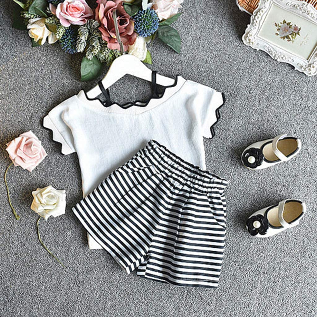 Dinlong 2Pcs Toddler Infant Kids Baby Girls Summer Fashion Soft Short Sleeve Floral Striped Tops Shorts Outfits Clothes Set