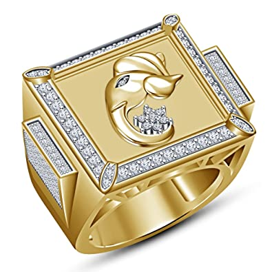 Vorra Fashion Men's Ganesha God Ring 14k Gold Plated 925 Sterling