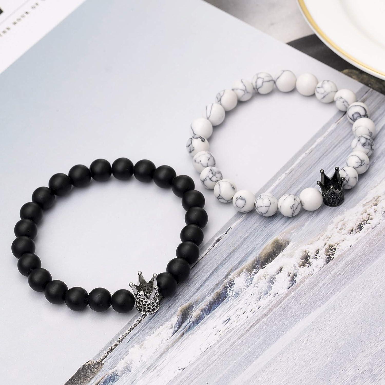 LIUANAN 2pcs//Set His//Hers Couples Bracelets Stretch Distance Bracelet for Girlfriend Boyfriend Matte Agate Turquoise 8mm Beads Stone
