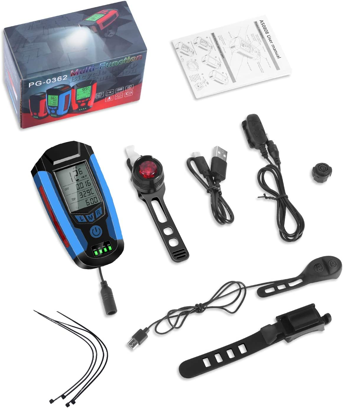 5 Lighting Modes Flashlight Hiking Camping All Mountain /& Road Cycling Bicycle Headlight Taillight,USB Rechargeable Bicycle Computer with Loud Bike Bell KLL Bike Light Set with Bike Speedometer