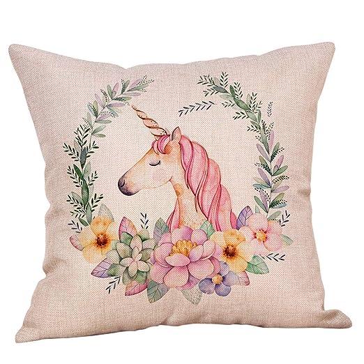 Cojín Lindo Unicornio Flor De La Almohadilla De Tiro De ...
