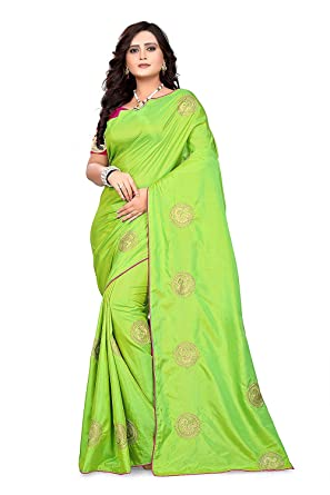 e2b09abcafc1e Sunshine Fashion Women s Sana Silk Saree With Unstitched Blouse Piece ( Parrot Green FreeSize)  Amazon.in  Clothing   Accessories