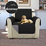 Petslover Water-Resistant Plush Non Slip Furniture Protector Non-Slip Sofa Slipcover for Dogs, Kids, Pets, Wear Resistant and Dirt Proof (1 Seater Sofa, Black)