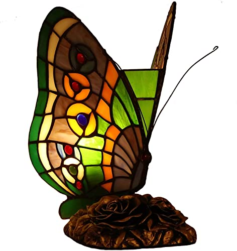 Bieye L10652 Butterfly Tiffany Style Stained Glass Accent Table Lamp