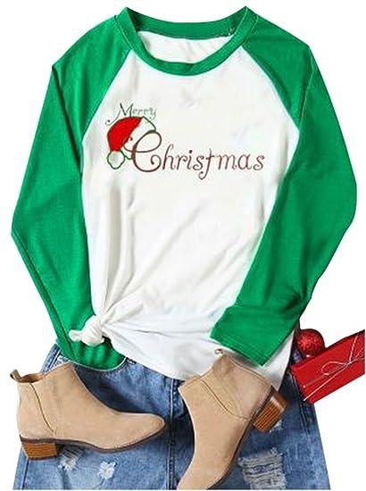 Women Merry Christmas letters Print Baseball Tees Funny Santa Hat Raglan  Sleeve T-shirt ( 919e4b432eb5