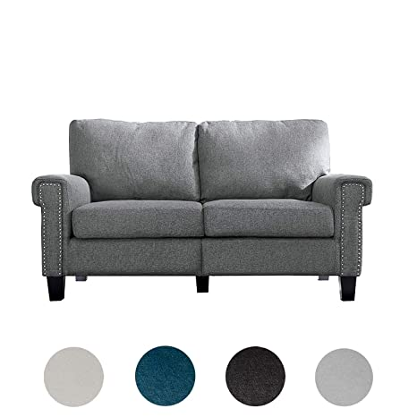 Fantastic Top Space Loveseat Couch Upholstered Modern 2 Seat Sofa Simple Style Arm Chair Linen Fabric Furniture Living Room Dark Grey Machost Co Dining Chair Design Ideas Machostcouk