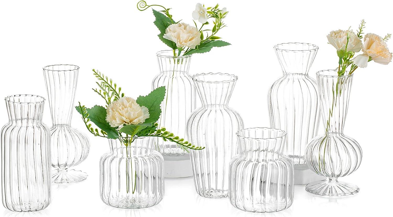 8Pcs/ Set Small Vase Different Geometric Stripe Shape, Bud Vases in Bulk Simplicity, Cute Mini Flower Vases Glass Narrow Neck for Home, Centerpieces, Table Decor