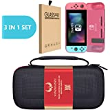 Switch Carrying Case Bag/Red TPU Case/Tempered Glass - (3 in 1) Set - for Nintendo Switch Case EVA Hard Handbag Travel Bag Anti-Drop Full Protection - Screen Guard - Carry Bag Case Light Weight (Red)