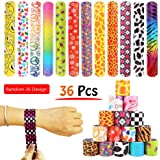 36 PCS Slap Bracelets Party Favors Pack with Diverse Pattern, Emoji, Animals, Heart Print Design, Retro Slap Wrist Bands for Kids Teens Adults Christmas Toys Prize Halloween …