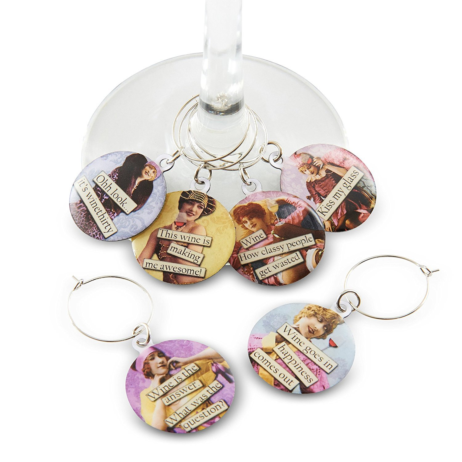 Funny Vintage Women Wine Glass Charms - Set of 6 Wine Tags. Always know which glass is yours with these wine markers! Savvy Design Store COMIN18JU055497