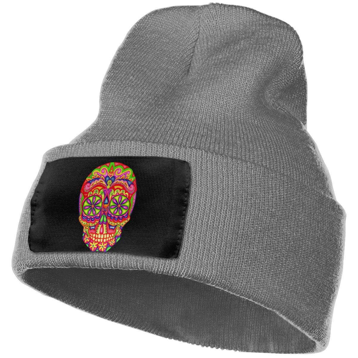 Psychedelic Sugar Skull Thick Beanie Hat Mens Womens 100/% Acrylic Knit Hat Cap