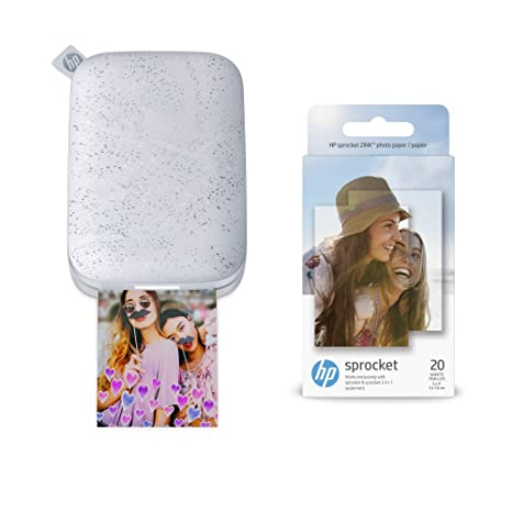 HP Sprocket Portable Photo Printer 2nd Edition (Luna Pearl) & Sprocket Photo Paper, Sticky-Backed 20 sheets