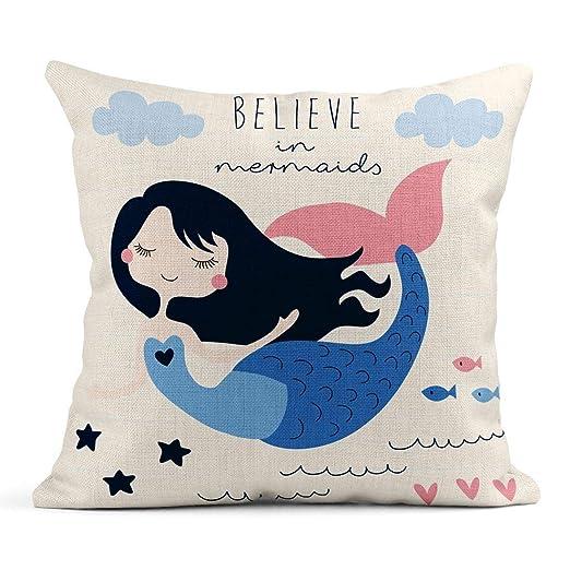 Cojín Azul Agua Hermosa Sirena Chica Colorida Playa Aleta ...