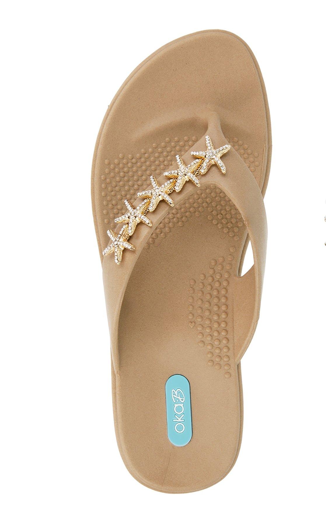 Gillian Flip Flop Sandal Shoes by OkaB Color Chai (M)