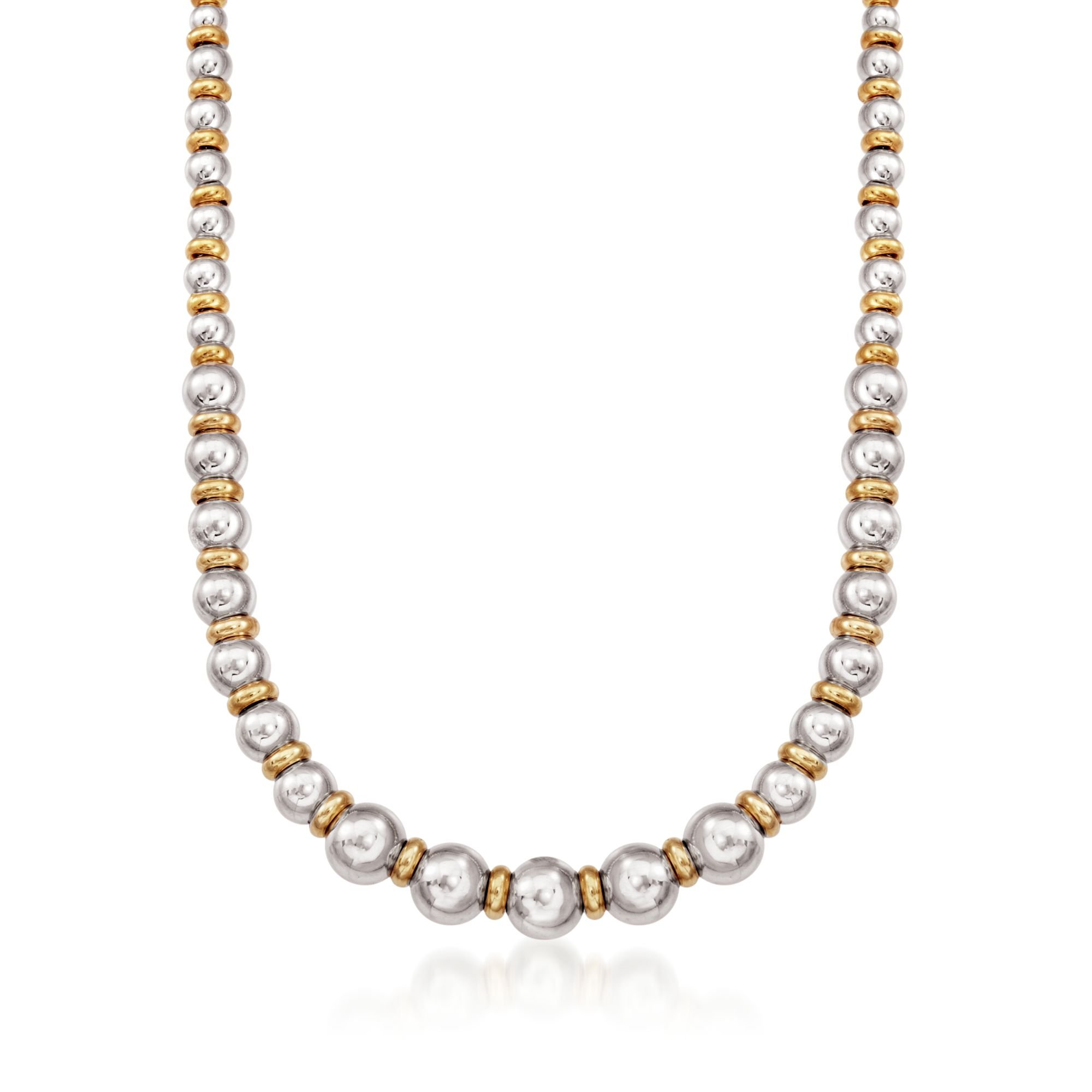 Ross-Simons Italian Two-Tone Sterling Silver Graduated Bead and Rondelle Necklace