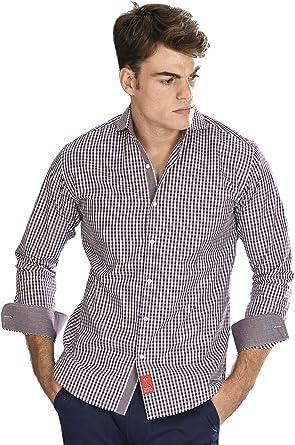 Camisa Manga Larga de Vestir, Slim fit, con Cuadros Vichy en ...