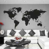 World map decal wall sticker amazon kitchen home mairgwall world map wall decal world country atlas sticker family living room art vinyl black gumiabroncs Images
