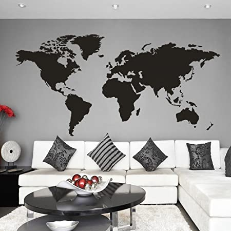 Mairgwall world map wall decal world country atlas sticker family mairgwall world map wall decal world country atlas sticker family living room art vinyl black gumiabroncs Choice Image