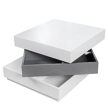 Drehbarer Design Couchtisch Multilevel Weiß Grau Hochglanz Tisch
