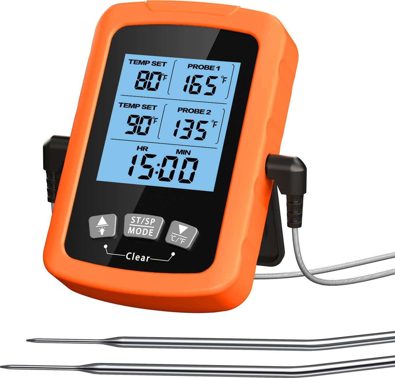 Cocoda Termometro Cocina, Termómetro Digital de Cocina Impermeable con Doble Sonda de 6.4