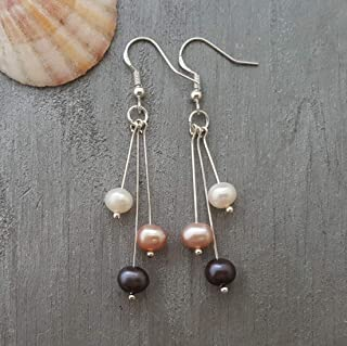 "product image for Handmade in Hawaii, Triple color Natural Pearl Earrings,""June Birthstone"", Birthday Gift, (Hawaii Gift Wrapped, Customizable Gift Message)"