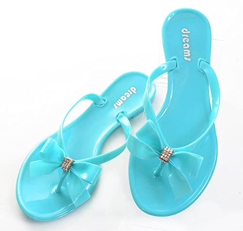 1a29588b052 Fourever Funky Mint Green Jelly Bow Thong Flat Sandal Younger - 7