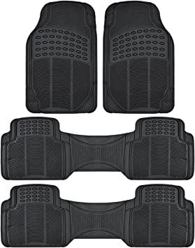 Zento Deals 4-Piece Black Trimmable Premium Quality Full Rubber-All Weather Heavy Duty Vehicle Floor Mats