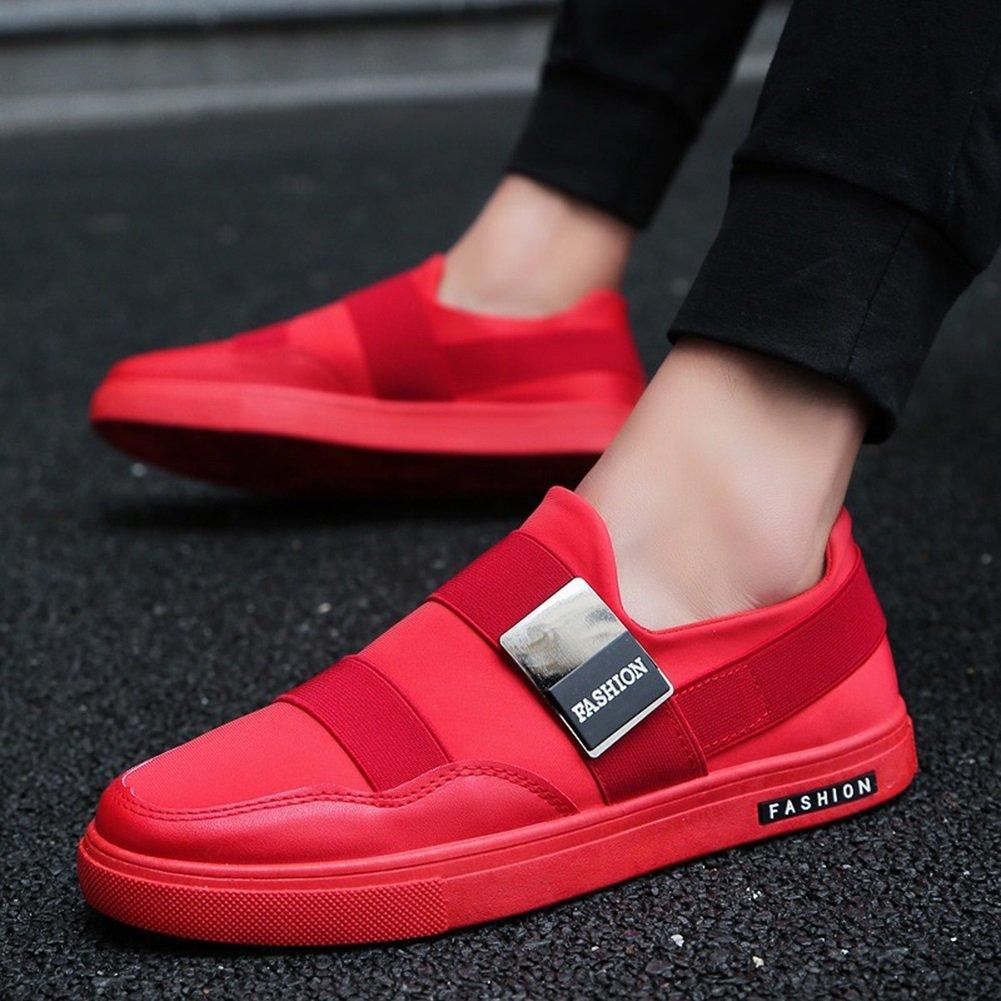 YIXINY Deporte Zapato Tendencia Calzado De Hombre Paño Plano Zapatos Casuales No Atado Primavera Y Otoño Rojo / Negro / Blanco Aire Libre y Deporte ( Color : Rojo , Tamaño : EU40/UK7/CN41 ) EU40/UK7/CN41|Rojo