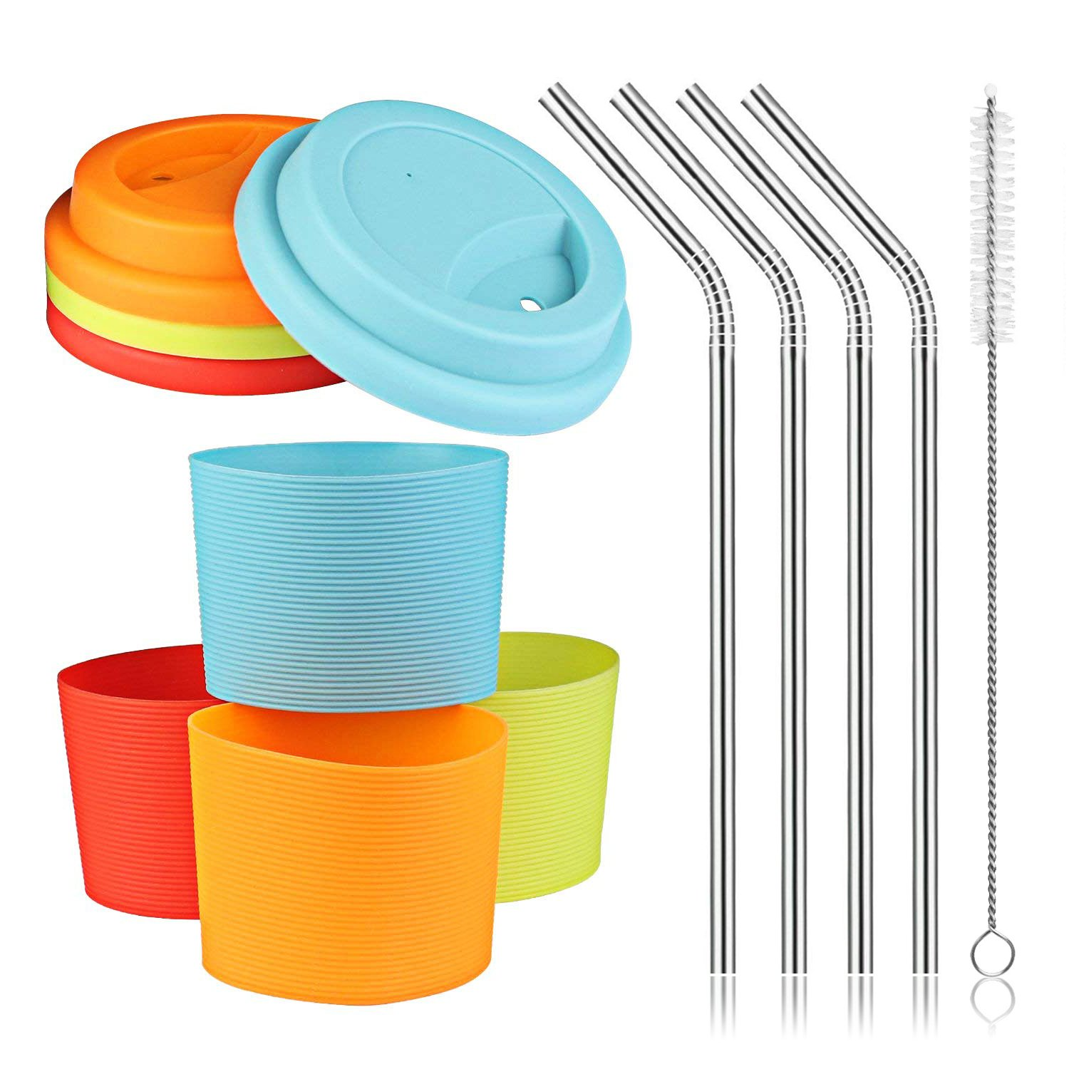 Silicone Sleeves and Lids with Stainless Steel Straws Set, Kereda 4 Pack Non-slip Heat Resistant Cup Covers Multicoloured 7.6cm Dia for 470ml Coffee Mugs/Tumblers/Rambler B07F2C1RHL  sleeves & lids with straws (16oz.)