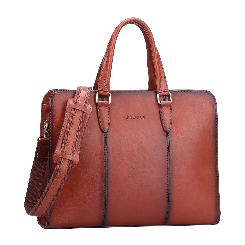 Banuce Vintage Full Grains Italian Leather Briefcase for Women Tote Handbag Attache Case 14 Inch Laptop Messenger Bag