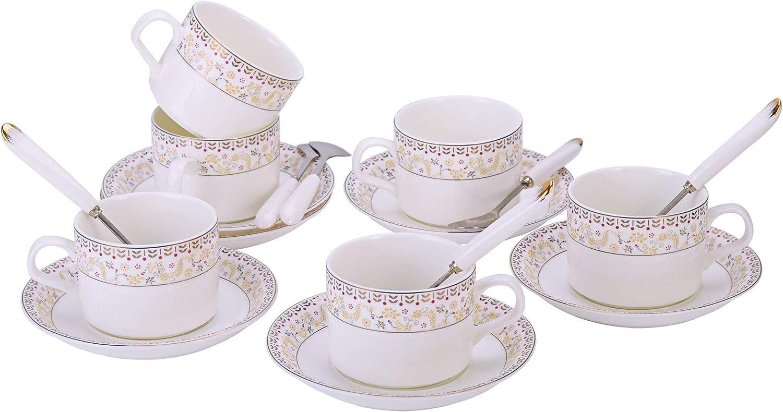 ufengke 7oz Coffee Cup Set,Black and Gold Flower Pattern Porcelain Coffee Sets,Set of 6 Ceramic Floral Tea Cup and Saucer Set,Black