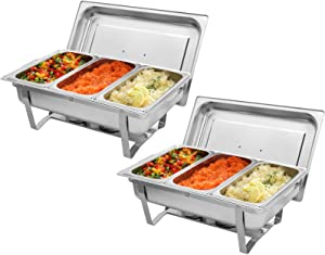 9L2 Three Sets of Dishes 31/3 Stainless Steel Rectangular Buffet Stove - Food Grade Stainless Steel Chafer Food Warmers Chafing Dish for Catering and Party