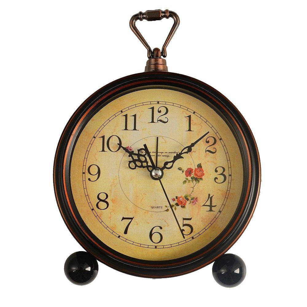 LauderHome 5'' Vintage Retro Old Fashioned Decorative Silent Desk Alarm Clock Non Ticking Quartz Movement Battery Operated