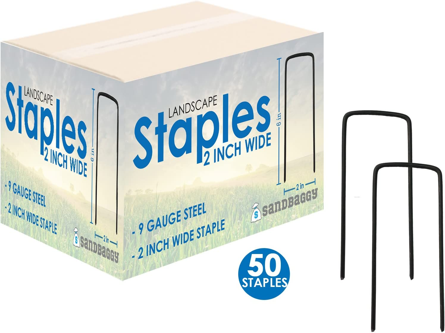 "Sandbaggy 6"" Long x 2"" Wide Extra Wide Landscape Staples~ Landscape Fabric Pins -Garden Staples Heavy Duty - Ground Cover Staples - Fence Anchors - Lawn Nails - Garden Stakes (50 Staples)"