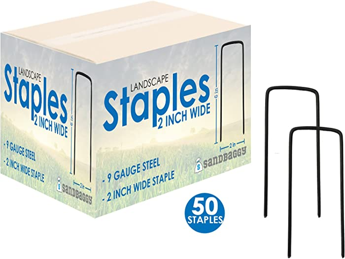 """Sandbaggy 6"""" Long x 2"""" Wide Extra Wide Landscape Staples~ Landscape Fabric Pins -Garden Staples Heavy Duty - Ground Cover Staples - Fence Anchors - Lawn Nails - Garden Stakes (50 Staples)"""