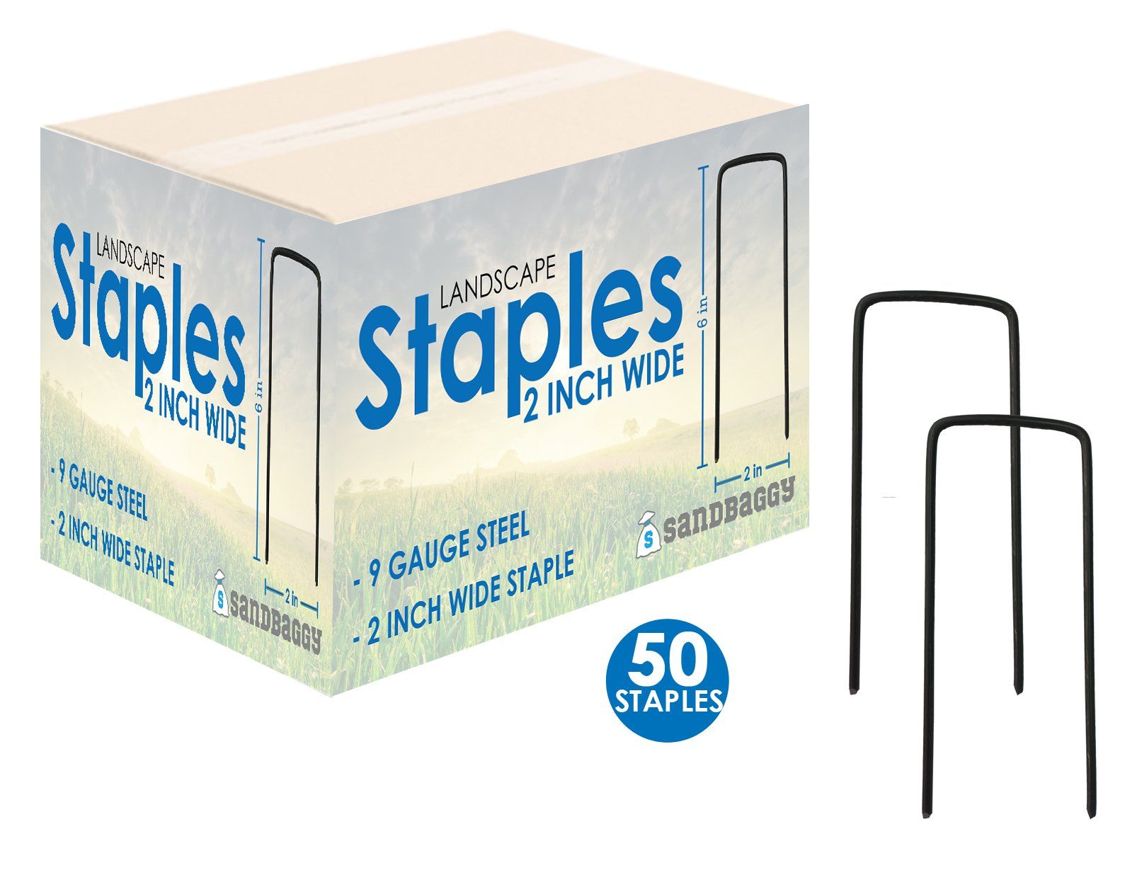 Sandbaggy 6'' Long x 2'' Wide EXTRA WIDE Landscape Staples~ Landscape Fabric Pins -Garden Staples Heavy Duty - Ground Cover Staples - Fence Anchors - Lawn Nails - Garden Stakes (50 Staples)