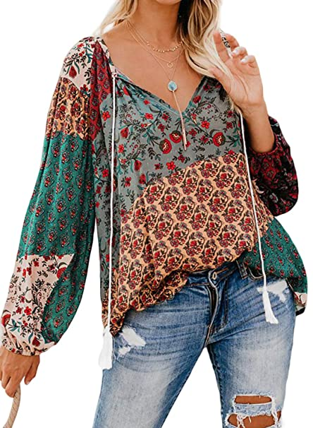 brand quality great fit pretty cheap FARYSAYS Women's Casual Boho Floral Print V Neck Long Sleeve Shirts Tops  Loose Blouses