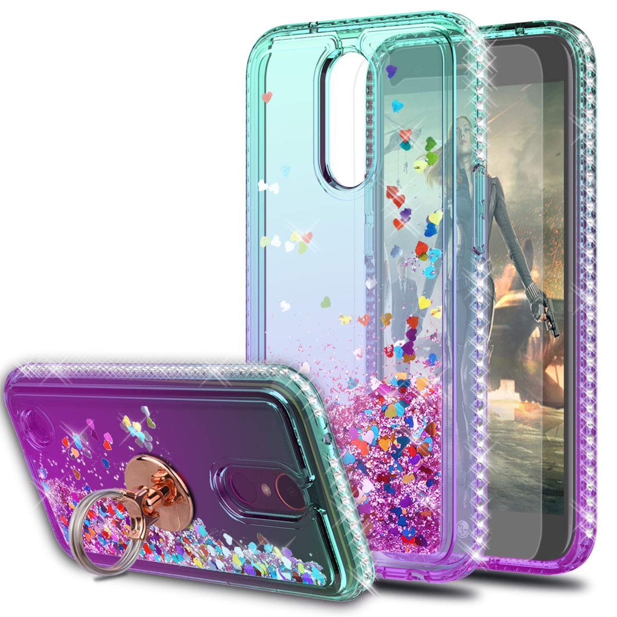 LG K20 Plus Case,LG Harmony/LG K20/LG K20V/LG VS501/LG K10 2017 Case with HD Screen Protector with Ring Holder,KaiMai Glitter Moving Quicksand Clear Cute Shiny Phone Case for LG LV5-Aqua/Purple Ring by KaiMai