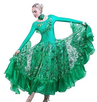 Amazon.com: NAKOKOU Women Dance Ballroom Competition Sequins Dresses ...
