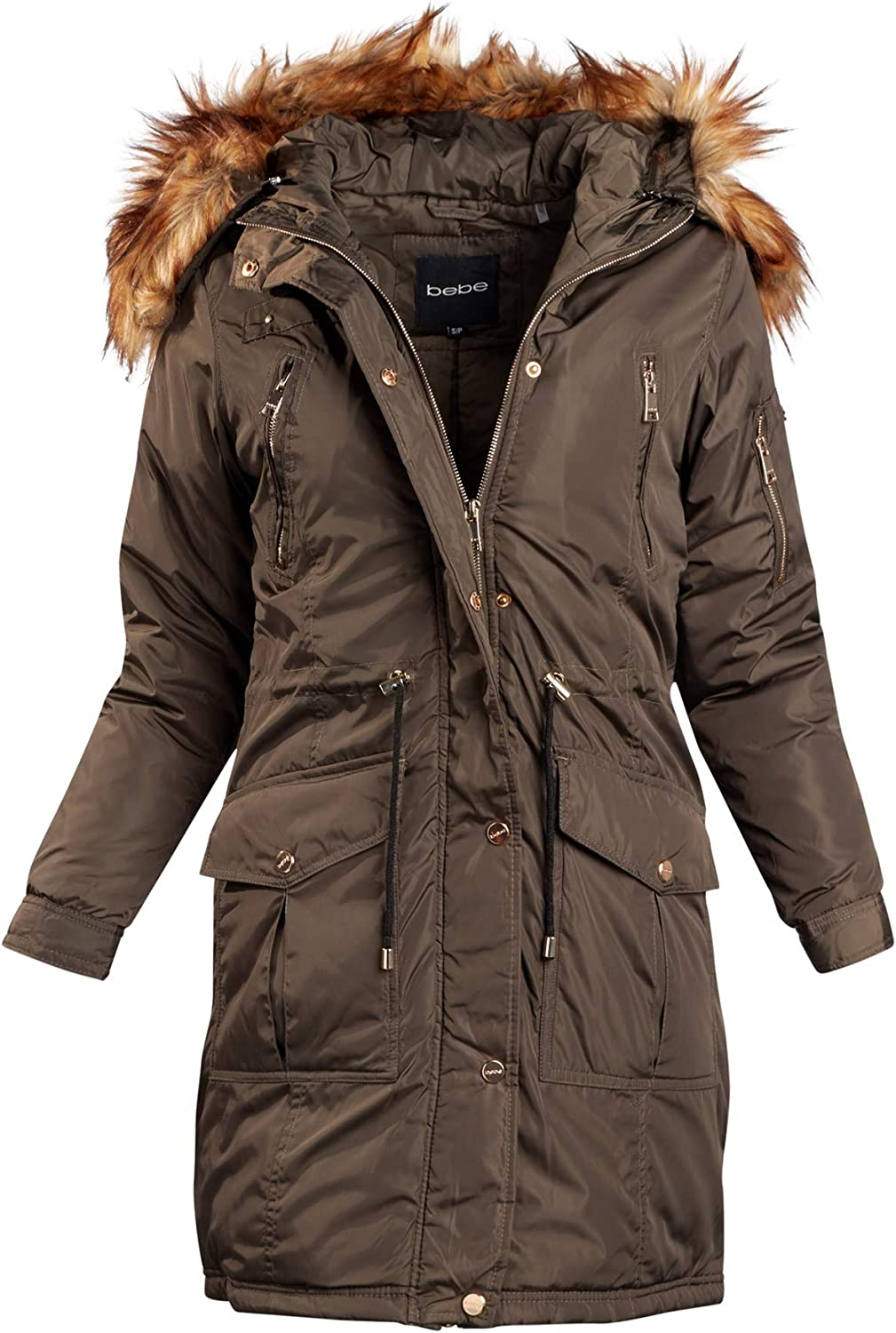 Heavyweight Insulated Long Length Parka Jacket with Faux Fur Hood bebe Womens Outerwear