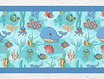 Dekodino Kinderzimmer Bordure Borte Unterwasserwelt Delfin