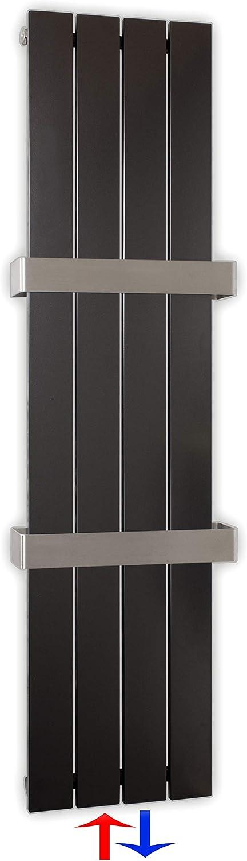 Design Paneelheizk/örper Heizk/örper Badheizk/örper Anthrazit mit Mittelanschluss Handtuchstange Edelstahl alle Gr/ö/ßen 371 Watt nach EN442