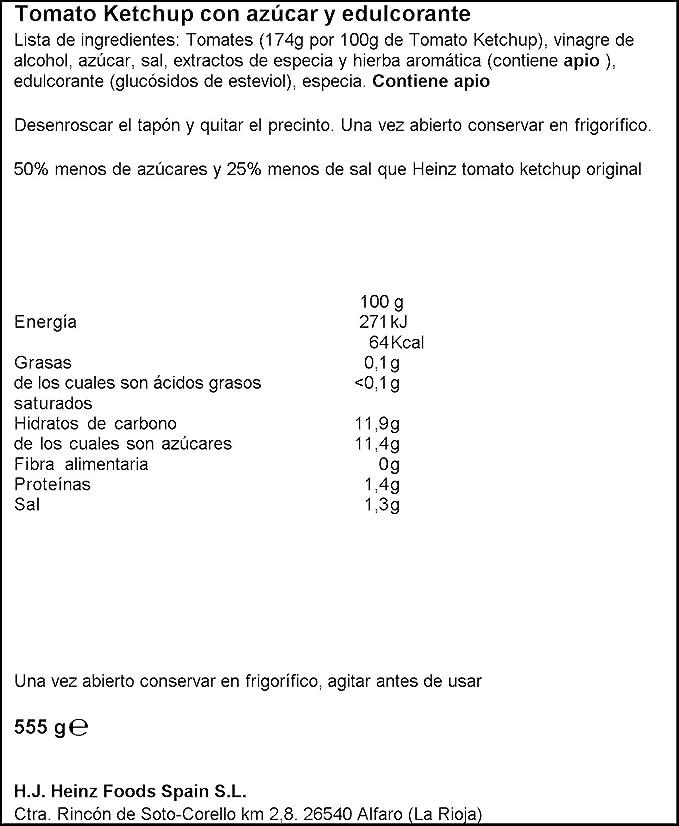 Heinz - Salsa Ketchup - 555 g: Amazon.es: Alimentación y bebidas