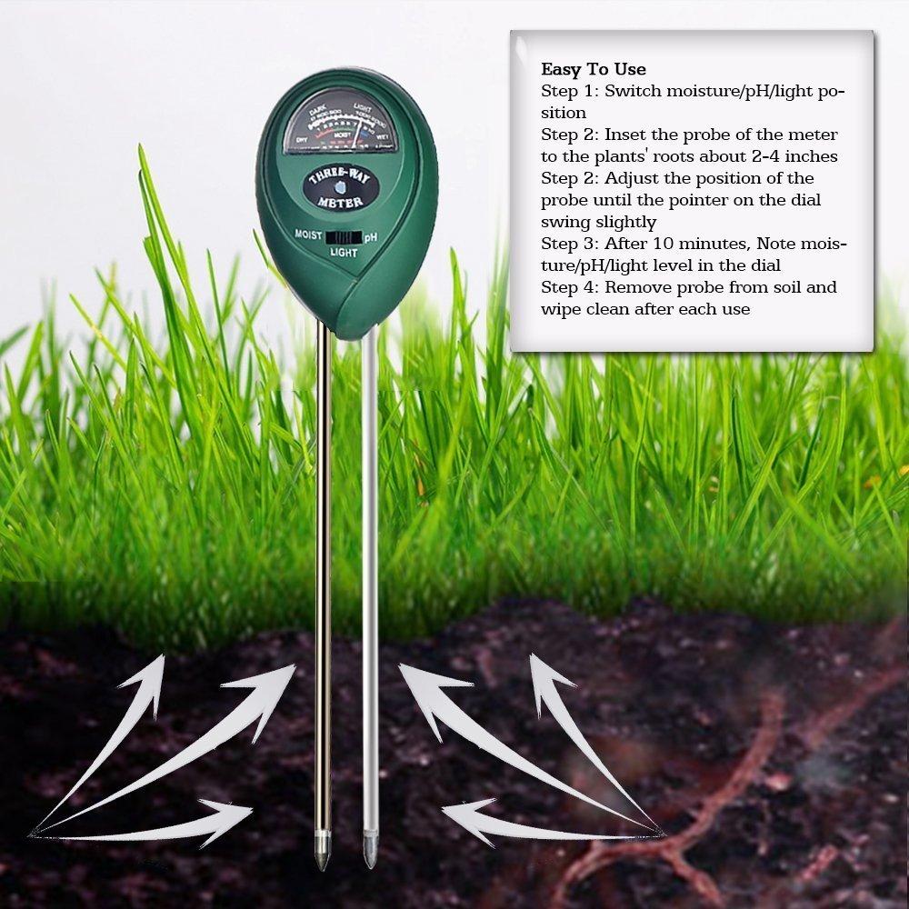 Messung Und Analyse Instrumente Gerade Boden Hygrometer 3 In 1 Ph Tester Boden Wasser Feuchtigkeit Licht Test Meter Für Garten Pflanze Blume Feuchtigkeit Meter