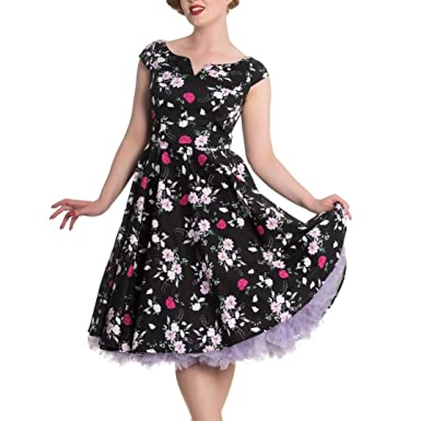 9c7327a3e27f Hell Bunny 50s Dress Floral Belinda Rockabilly Pin up Black  Amazon.co.uk   Clothing