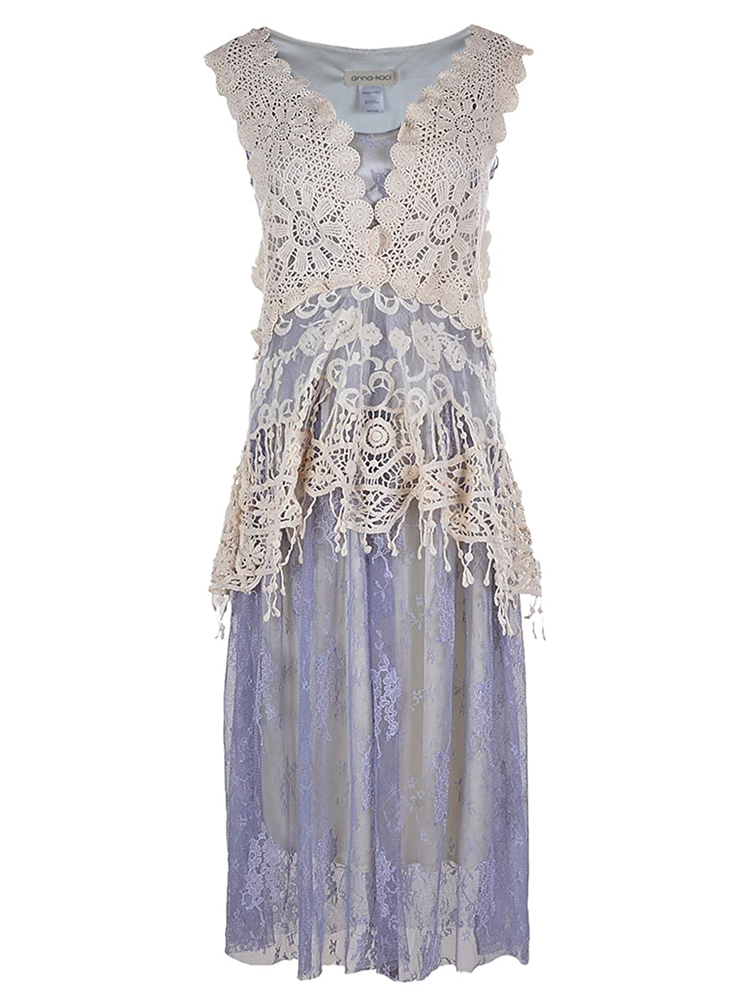 1920s Downton Abbey Dresses Anna-Kaci Womens Vintage Floral Embroidery Detail Lace Ruffle Gatsby 1920s Dress $47.99 AT vintagedancer.com