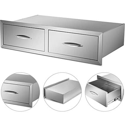 Mophorn Outdoor Kitchen Drawer Stainless Steel BBQ Storage with Chrome  Handle Flush Mount Sliver (39 x 9.8 x 20 Inch, Access Drawer)