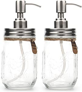 Tosnail 2 Pack Clear Glass Mason Jar Soap Dispenser with Stainless Steel Pump for Dish Soap, Liquid Hand Soap, Lotion, Shampoo