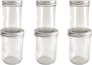 Glass Wide Mouth Jars With Metal Airtight Lid,Set of 6 Jars,Ideal for Candles,Honey,Wedding Favors,Canning Jars,Baby Foods,Decorating Jar.(3Pcs 8oz + 3Pcs 16oz)